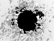 Dark destruction cracked hole in white stone wall Royalty Free Stock Images