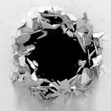 Dark destruction cracked hole in white stone wall. 3d render illustration royalty free illustration