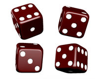Dark Dices. Dark red dice and different angles on isolated white background Stock Image