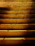 Dark Dirty Grunge Stairs. Dark brown old, scary, grunges stairs with sunshine falling on them. can be a background or a concept about fear and danger Stock Image