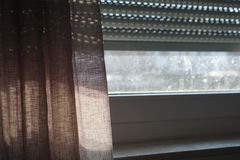 Dark dirty window screen for themes as lonely and isolated. Photo design royalty free stock images