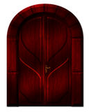 The dark door with curved arch. Beautiful wooden maroon door in an old Gothic style with an arch Stock Photo