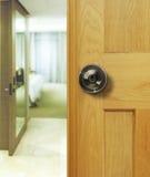Dark door Knobs. Door Knobs on wood door Stock Photo
