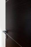 Dark door open a. Dark door open, with the handle, on white background royalty free stock image