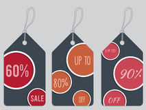 Dark dotted discount labels Royalty Free Stock Photo