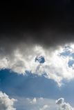 Dark dramatic black clouds over blue sky Royalty Free Stock Image