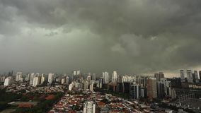 Dark and dramatic clouds of rain. Very heavy rain sky in the city of Sao Paulo, Brazil South America stock footage