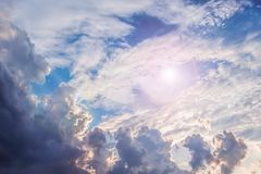 Dark dramatic clouds in the sky, illuminated by the sun_ stock photos