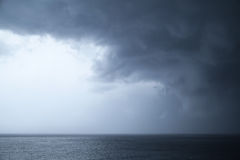 Dark dramatic stormy sky over sea Royalty Free Stock Images