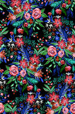 Dark and dramatic wild flowers pattern. Stock Photos