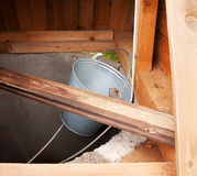 Dark draw well - water supply stock photos