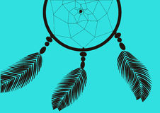 Dark dreamcatcher on a blue background illustration Royalty Free Stock Photos