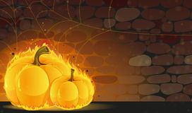 Dark dungeon and burning pumpkins Stock Image