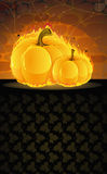 Dark dungeon and burning pumpkins Stock Images