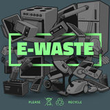 Dark E-waste with Green Title Stock Photo