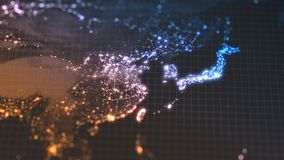 Dark earth map with glowing details of city and human population density areas. wiew of asia. 3d illustration. Dark earth map with glowing details of city and stock illustration