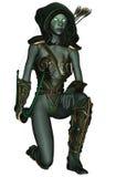 Dark elf. 3D rendered dark elf warrior on white background isolated Stock Photos