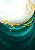 Dark emerald fabric drapes with ornament, background Stock Images