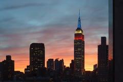 Dark Empire State Building, sunset sky Stock Image
