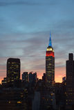 Dark Empire State Building, sunset sky Royalty Free Stock Photos