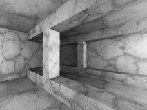 Dark empty basement concrete room interior. Minimalistic archite. Cture background. 3d render illustration Royalty Free Stock Images