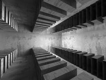 Dark empty basement concrete room interior. Minimalistic archite. Cture background. 3d render illustration Royalty Free Stock Photo
