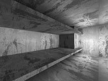 Dark empty concrete basement room interior. Urban architecture b Stock Photos