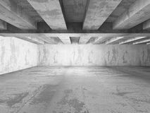Dark empty concrete basement room interior. Urban architecture b. Ackground. 3d render illustration Royalty Free Stock Images