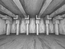 Dark empty concrete room columns interior. Abstract architecture. Background. 3d render illustration Stock Photos