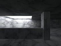 Dark empty concrete room interior. Architecture background. 3d render illustration Stock Image