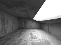 Dark empty concrete room interior. Architecture urban background. 3d render illustration Stock Photos