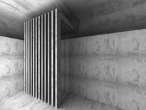 Dark empty concrete room interior background. 3d render illustration Royalty Free Stock Photo