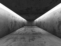Dark empty concrete room interior with ceiling lights. 3d render illustration Stock Photography