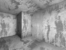 Dark empty concrete room interior. Urban architecture background. 3d render illustration Stock Image