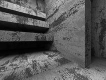 Dark empty concrete room interior. Urban architecture background. 3d render illustration Stock Photo