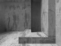 Dark empty concrete room interior. Urban architecture background. 3d render illustration Stock Images