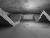 Dark empty concrete room interior. Urban architecture background. 3d render illustration Stock Photography