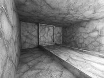 Dark empty concrete walls room interior. Urban architecture back. Ground. 3d render illustration Stock Images