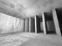 Dark empty concrete walls room interior. Urban architecture back. Ground. 3d render illustration Royalty Free Stock Photos