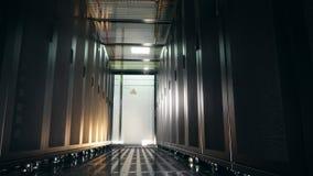 Dark empty corridor in the server unit. 4K stock video