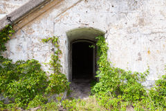 Dark empty doorway in old wall, background texture Royalty Free Stock Photography