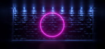 Dark Empty Room With Blue Lights Glowing Into Rock Brick Old Ret. Ro Empty Wall With Neon Circle Purple Tube Glowing In Middle Background. 3D Rendering Stock Illustration