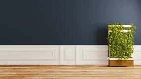 Dark, empty room interior design. 3D rendering stock illustration