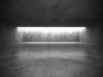 Dark empty room interior with old concrete walls and ceiling lig Stock Photo