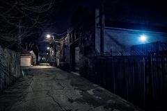 Dark empty scary urban city street alley at night. Dark empty scary urban city street alley with vintage buildings at night Royalty Free Stock Photography