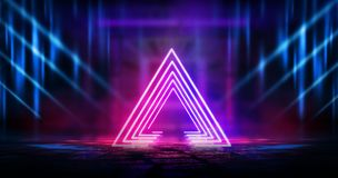 Dark, empty space, empty stage, room with light element, neon light, abstract light. stock photo