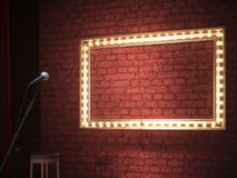 Dark empty stage with microphone. 3d render Royalty Free Stock Photography