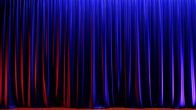 Dark Empty Stage With Rich Blue Velvet Curtains 3d Render Stock Photography
