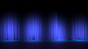 Dark empty stage with rich blue velvet curtains. 3d render. Dark empty stage with rich blue velvet curtain. 3d illustration Stock Image