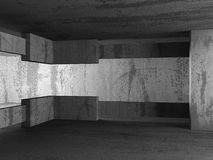 Dark empty urban concrete room urban interior. 3d render illustration Royalty Free Stock Image